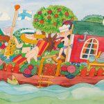 Camilla Mickwitzin kuvitus, jossa on värikäs laiva.