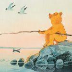 Hannu Tainan kuvitus, jossa Uppo-Nalle on ongella.