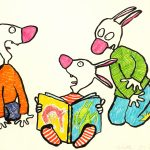Riitta Uusitalon kuvitus Armi-kirjaan. Kuvassa on kolme jänistä, joista keskimmäinen lukee kirjaa.