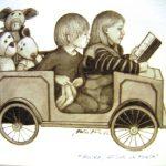 Matti Kodan kuvitus, jossa kksi lasta istuu leikkiautossa ja takapenkillä on pehmoleluja.