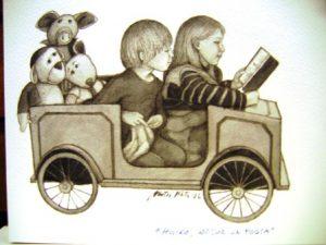 Matti Kodan kuvitus. Kaksi lasta istuu leikkiautossa, takana kolme pehmolelua.
