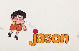 Jason heittää palloa.