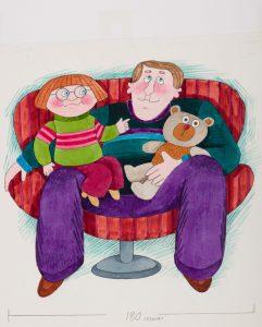 Camilla Mickwitz: Emilia. Emilia ja isä istuvat sylikkäin punaisessa nojatuolissa.