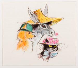Maija Karman kuvitustyö, jossa on kettu, aasi ja kissa.