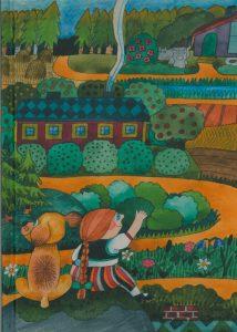 Muistikirjan kansikuva Camilla Mickwitzin kirjasta Emilia ja Onni. Kuvassa koira ja tyttö katselevat vehreää maisemaa.