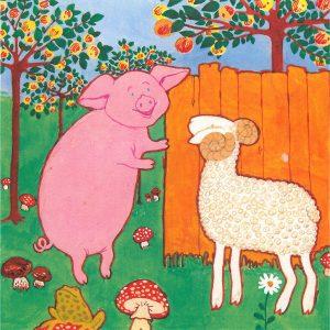 Maija-Kaarina Nenosen kuvitusta Kultainen koti -sarjaan. Kuvassa porsas ja lammas.