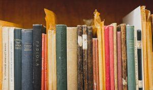 Vanhoja lastenkirjoja Lastenkirjainstituutin kirjaston hyllyssä.