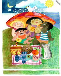 Camilla Mickwitzin kuvitus. Neljä lasta ison päivänvarjon alla, edessä eväät liinan päällä ja kissa.