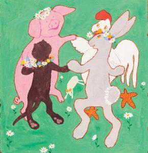 Kortti: Maija-Kaarina Nenonen, Piiri. Possu, kissa, jänis ja kukko tanssivat piirissä.