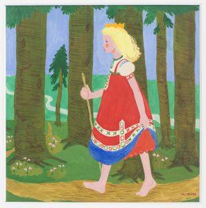 Kortti: Maija-Kaarina Nenonen, Prinsessa Sinisilmä. Prinsessa kävelee metsässä paljain jaloin.