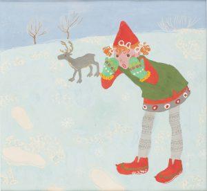 Kortti: Maija-Kaarina Nenonen, Tiina. Tiina Tonttutyttö talvisessa maisemassa, taustalla poro.