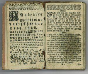 Gezeliuksen hyvin vanhan kirjan aukeama.