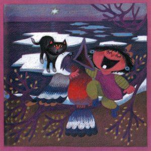 Kortti: Camilla Mickwitz, Huhtikuu. Mimosa ja lintu, taustalla musta kissa jäälautalla.