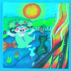 Kortti: Camilla Mickwitz, Kesäkuu. Mimosa tanssii luudalla kukkaseppele päässä, edessä kokko, kissa ja hiiri katsovat.
