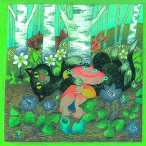 Kortti: Camilla Mickwitz: Toukokuu. Mimosa ja kissa makaava keväisessä maisemassa, taustalla kurkistavat kettu ja jänis.