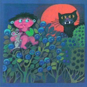 Kortti: Camilla Mickwitz, Elokuu. Mimosa istuu mustikanvarvulla, musta kissa taustalla.