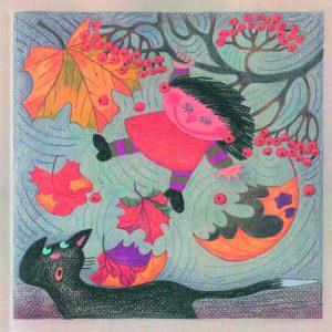Kortti: Camilla Mickwitz, Lokakuu. Mimosa roikkuu vaahteran oksalla, lehdet lentävät tuulessa ja musta kissa katsoo.
