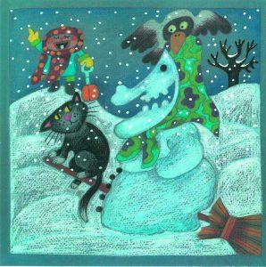 Kortti: Camilla Mickwitz, Tammikuu. Lumiakka, musta kissa ja Mimosa lapio kädessä.