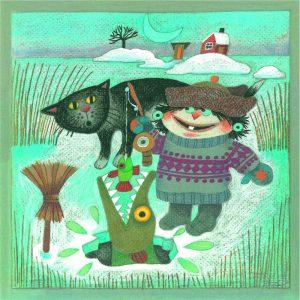 Kortti: Camilla Mickwitz, Helmikuu. Mimosa onki kädessä, iso kala nousee avannosta, musta kissa katsoo.