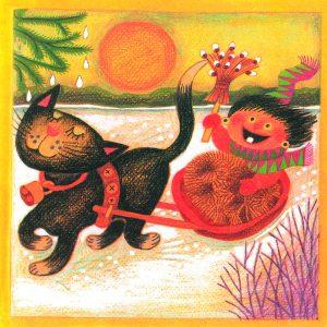 Kortti: Camilla Mickwitz, Maaliskuu. Kissa vetää pulkkaa jossa Mimosa istuu pajunkissaluuta kädessä.