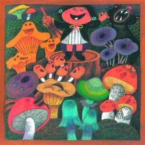 Kortti: Camilla Mickwitz, Syyskuu. Mimosa johtaa laulavien sienten orkesteria.