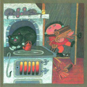 Kortti: Camilla Mickwitz, Marraskuu. Mimosa kantaa ouita, etualalla leivinuuni jonka päällä kissa makaa.