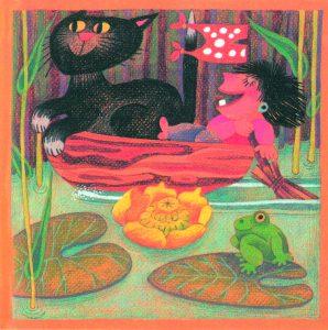 Kortti: Camilla Mickwitz, Heinäkuu. Mimosa istuu kissan kanssa veneessä ja meloo luudalla, edustalla lumpeita.