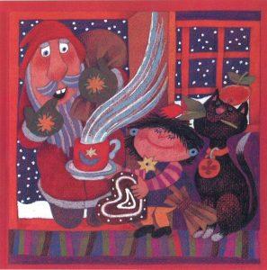Kortti: Camilla Mickwitz, Joulukuu. Joulupukki tulee sisään ovesta, Mimosa tarjoaa piparkakkua ja kuumaa juomaa.