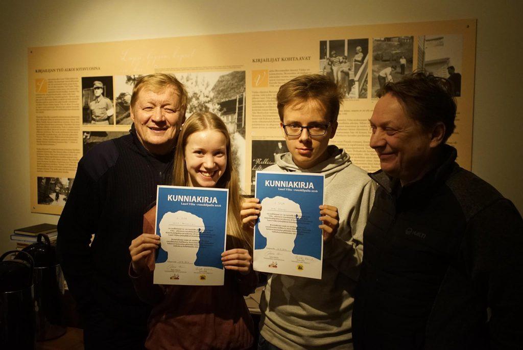 Kilpailun voittajat ja tuomarit: Ahti Jokinen, Jaina Saviainen, Arttu Jalonen ja Heikki Salo.