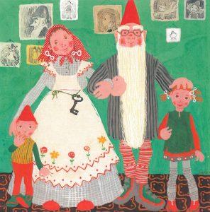 Maija-Kaarina Nenosen kuvitus kirjaan Tiina Tonttutyttö. Kuvassa tonttuperhe.