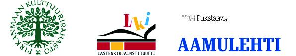 Yhteistyökumppanien logot: Pirkanmaan kulttuurirahasto, Lastenkirjainstituutti, Pukstaavi, Aamulehti.