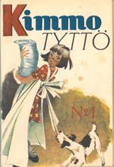 Kansikuva 1947. Tyttö, jonka esiliina nauhaa koira vetää.
