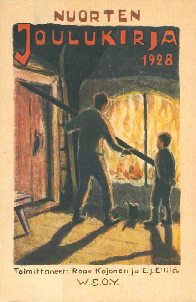 Kansikuva 1928. Mies kohentaa tulta isossa uunissa.