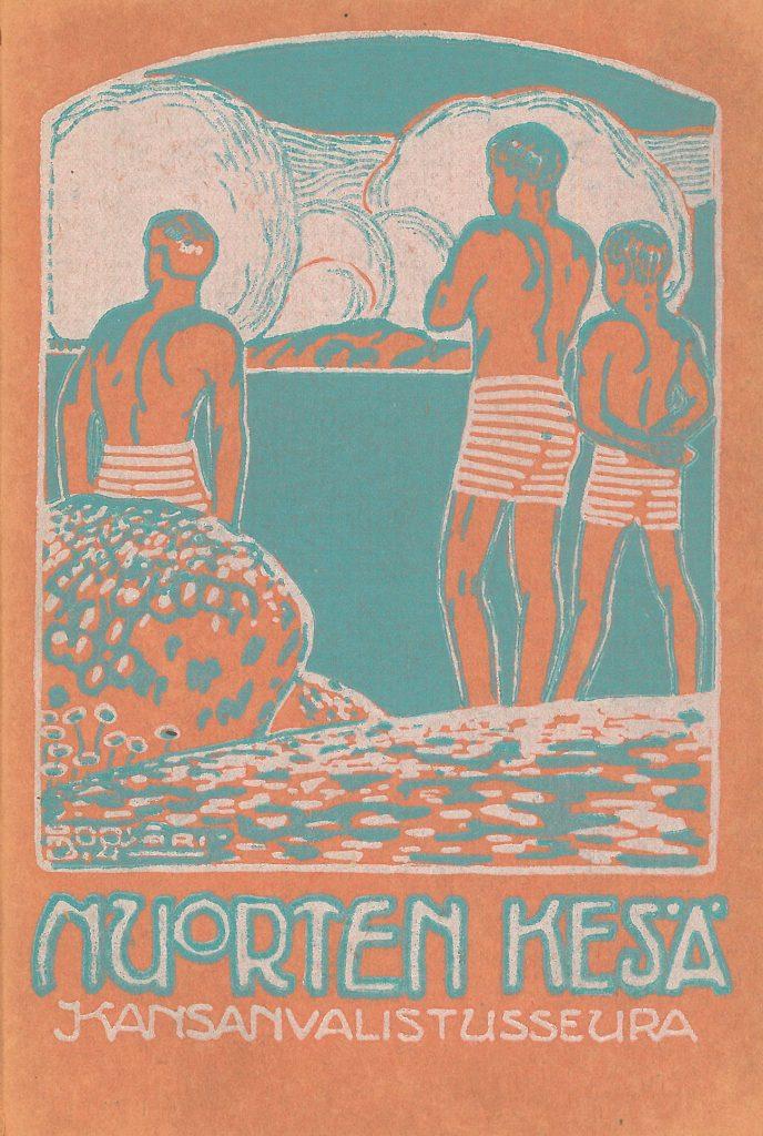 Kansikuva 1914. Poikia rannalla.