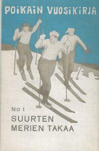 Kansikuva 1915. Kolme poikaa hiihtää.