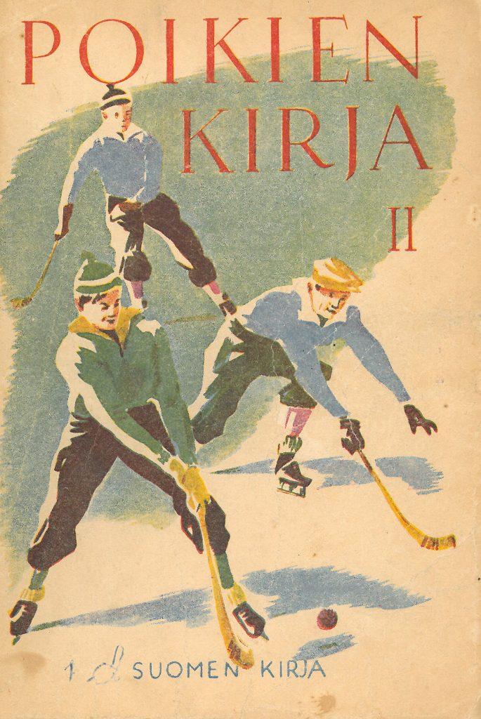 Kansikuva 1946. Kolme poikaa pelaa jääkiekkoa.