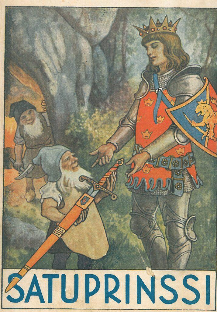 Kansikuva 1926. Kääpiö ojentaa prinssille miekan.