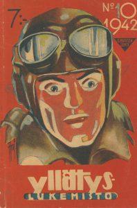 Kansikuva 1942. Mies nahkakypärä ja ajolasit päässään.