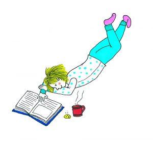 Piirroskuva, jossa lapsi makaa lukemassa kirjaa.