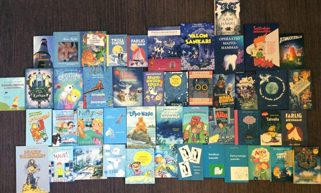 46 sinisävyistä lasten proosakirjaa.