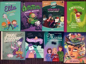 8 lasten proosakirjaa, joissa väriyhdistelmänä purppura ja vihreä.