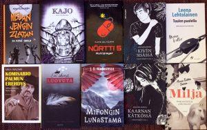 10 nuortenkirjaa, jossa mustavalkosävyinen kansi + tehosteväri.