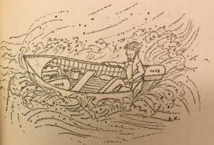 Mustavalkoinen kuvituskuva, jossa pieni moottorivene aallokossa.