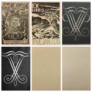 Kuusi erilaista ex libristä.