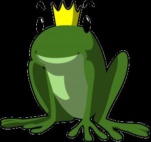 Kilpailun tunnuskuva: sammakko, jolla on kruunu päässä.