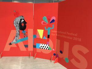 Tanskalaisen Albus-lastenkirjafestivaalin punainen seinäke.