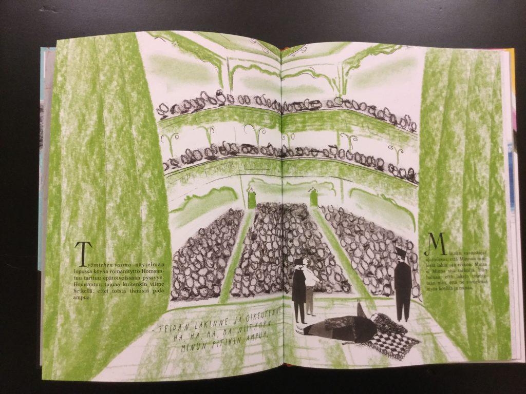 Vihreä-valko-musta-sävyinen aukeama kirjasta Minna! Kuvassa on teatterin katsomo ja lava.