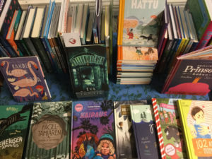 Children's novels in the Kirjakori 2018 exhibition.