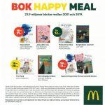 Ruotsinkielinen mainos, jossa esitellään lukukampanjaa. Otsikkona Bok happy meal.