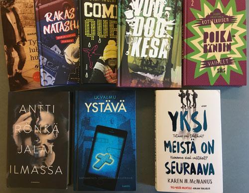 Kansikuva kirjoista Tyttö lukitussa huoneessa, Rakas Natasha, Comedy Queen, Voodookesä, Kotitekoisen poikabändin vaiheet, Jalat ilmassa, Ystävä ja Yksi meistä on seuraava.